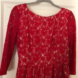 French Connection Red Lace Dress - Size 12